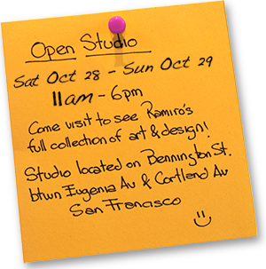 Open Studio Oct 29-30 11am-6pm, Bennington St between Eugenia and Cortland, San Francisco